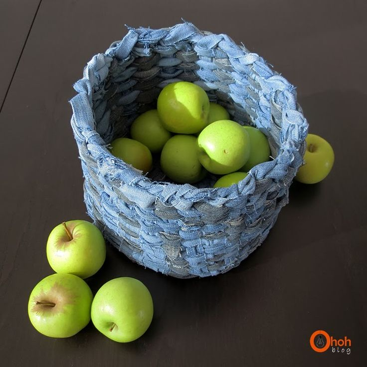 DIY recycled denim basket. Good as a jumping off point but could use a little bit more instruction.
