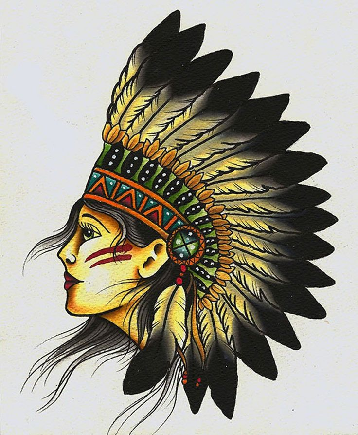 Indian by mikey sarratt native american girl tattoo canvas