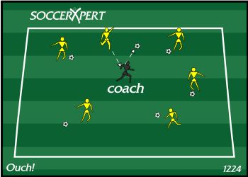 The coach jogs around in the grid and players try to kick their balls and hit the coach. The players get a point each time they hit the coach. The coach should yell OUCH eah time they are hit to make the game FUN.