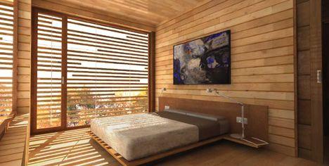 interior madera celosía vivienda dormitorio cama