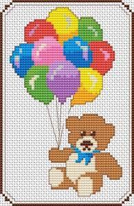 Teddy cross stitch pattern