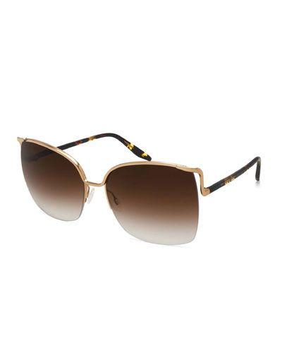 Satdha Semi-Rimless Square Sunglasses, Gold/Heroine Chic/Smokey Topaz