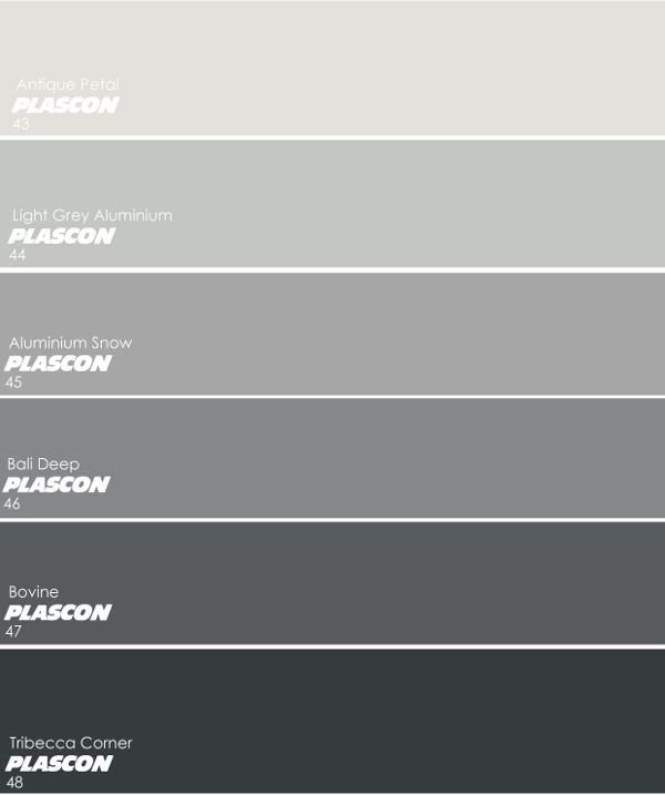 Plascon's favourite greys: – Dusk of Day (B6-E1-2) from the 2013 Colour Forecast – Ocean Liner (B6-E1-4) from the 2013 Colour Forecast – We also love softer greys like Plascon Cashmere's Off Shore (GR-YO3) and Geneva Morn (GR-YO1) [Edit: Please note – Since 2012, we have updated our PIC unit to include certain greys from the Architectural Greys into our 108 Essential Collection. They were then given new codes and the formulas where adjusted slightly. The biggest difference is on the Geneva…