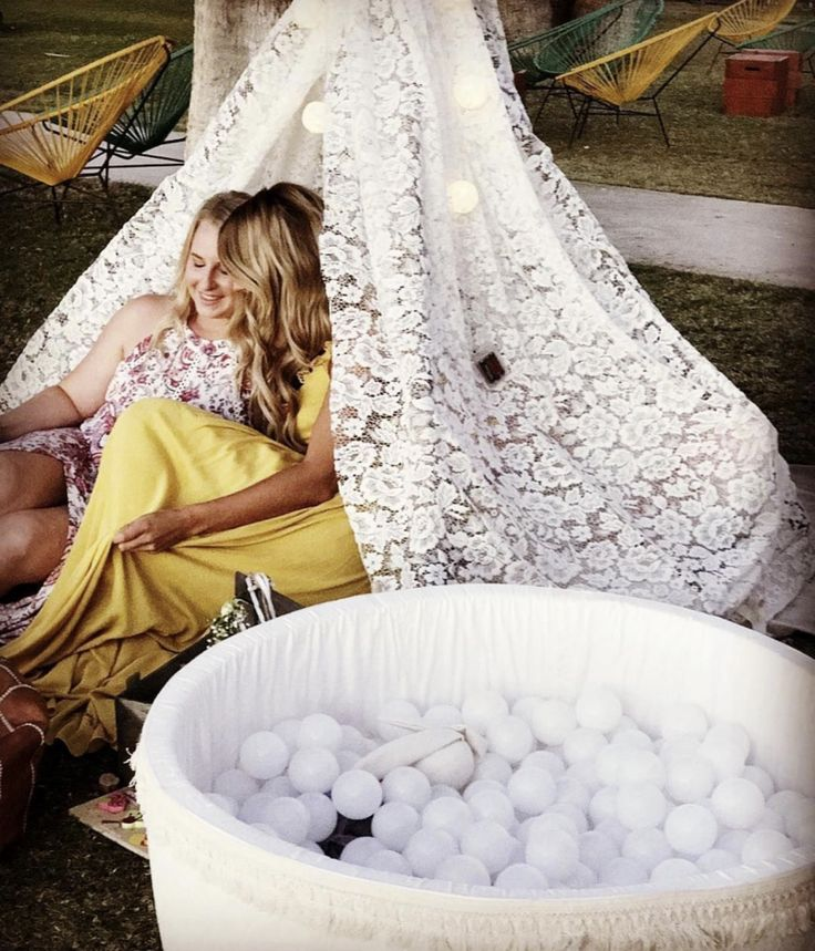 Lace teepee and ballpit for kids corner at weddings @mila.and.chloe