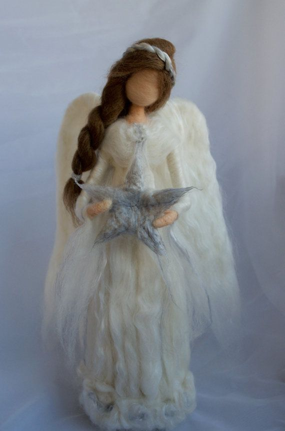 Angel Tree Topper Needle Felted Large di ClaudiaMarieFelt su Etsy