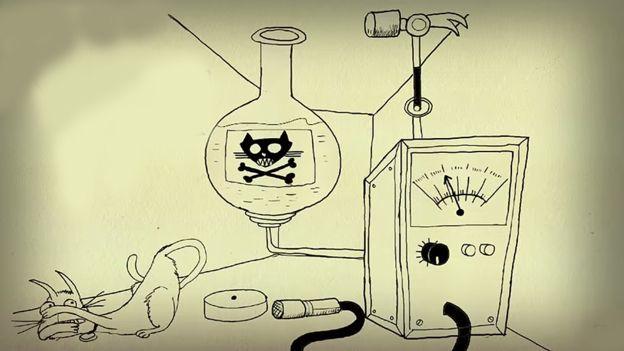 """En '30 se descubrió la Mecánica Cuántica,que decía que algunas partículas son tan diminutas que no las puedes siquiera medir sin cambiarlas.Pero la teoría sólo funcionaba si,antes de medirlas,la partícula estaba en una """"superposición""""de cada estado posible al mismo tiempo.Erwin Schrödinger imaginó 1 gato metido en 1 caja con 1 partícula radioactiva y 1 contador Geiger conectado a 1 ampolleta de veneno.Si la partícula se desintegra,dispara el contador Geiger que libera el veneno y el gato…"""