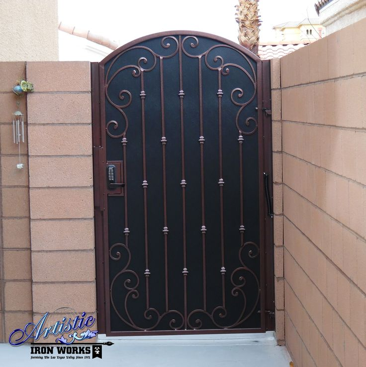 Wrought Iron Side Gate With Scrolls, Knuckles And Perforated Screen Backing    Powder Coated Burgundy