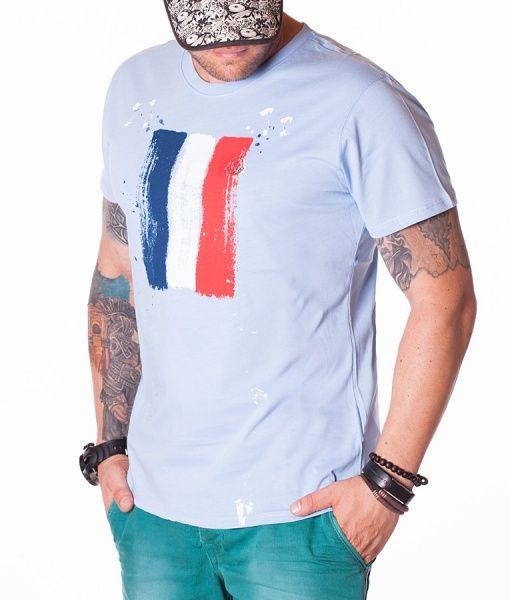 Moncler Tricouri Cu Guler Rotund - Flag Print Tricou Albastru
