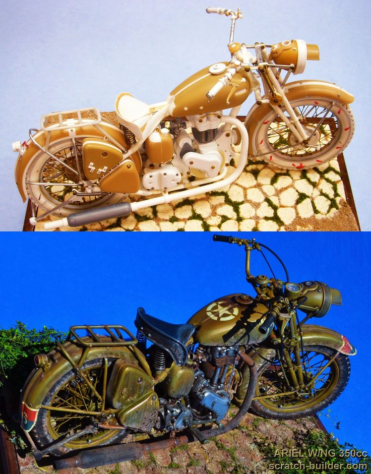 """Ariel W/NG 350cc British Army military motorcycle, """"The Italian Campaign, 1943"""". Scratch built 1/9 scale. By Alexander Wence De Leon. #vignette #motorcycle #WW2 http://scratch-builder.blogspot.jp/search/label/Ariel"""