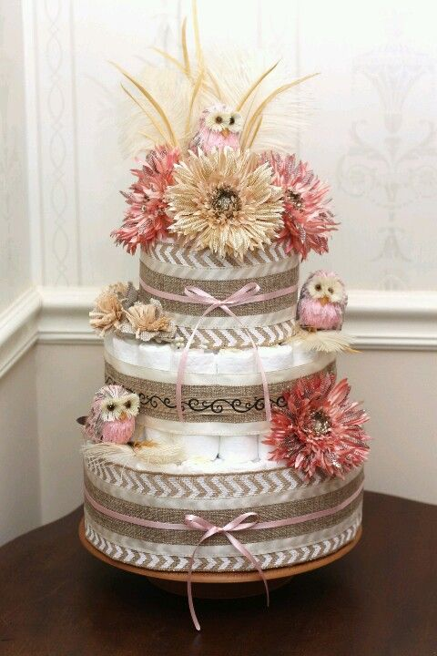 Owl Diaper Cake I made for my sis-n-law. #diapercake #owlthemed made by Heather Moore