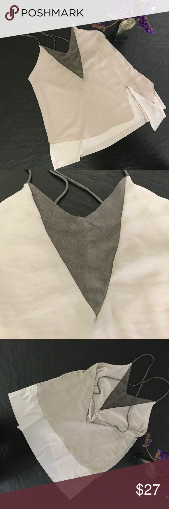 """Zara Strappy Top Zara top that's made of two layers and hangs gracefully on tiny straps.  Front """"V"""" is a faux suede.  There's an elegant metal chain (blocks, not loops) across the lower back.  Mint condition. Zara Tops"""