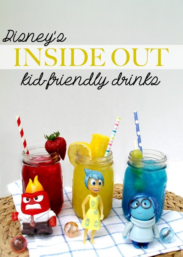 Easy + Fun Disney's Inside Out Kid-Friendly themed Drinks! Perfect for an Inside Out themed birthday bash! #ad #InsideOutEmotions #CollectiveBias