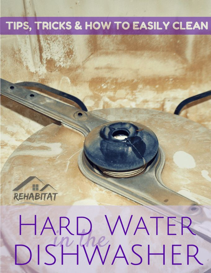 Living on well water can produce some pretty bad hard water stains; build-up and deposits can appear in a short amount of time.  Here are some hard water dishwasher tips to help ease the headache of living with hard water.  Hard Water Dishwasher Tips & Cleaning - Rehabitat