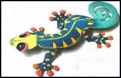 """Painted Metal Gecko Wall Hanging - Gecko Art - Tropical Outdoor Wall Art - Garden Decor -19""""   -  Beach home decor - Tropical interior decorating - Tropical decor - Painted metal art - Tropical wall decor - Caribbean decor - Tropical artwork - Tropical artwork"""