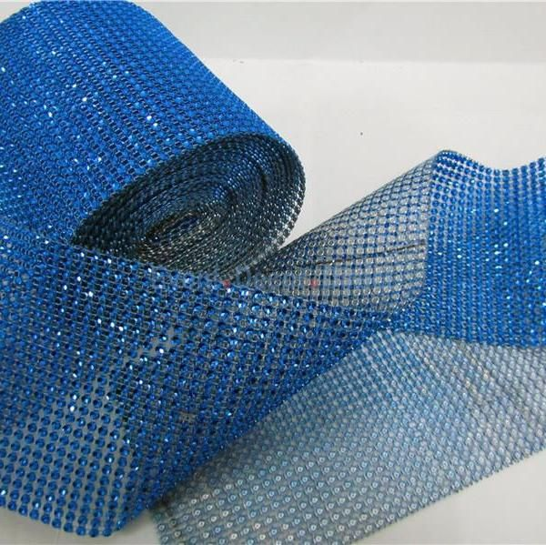 Blue Rhinestone Mesh - 30 Foot Roll  Chair and centerpiece for BASH