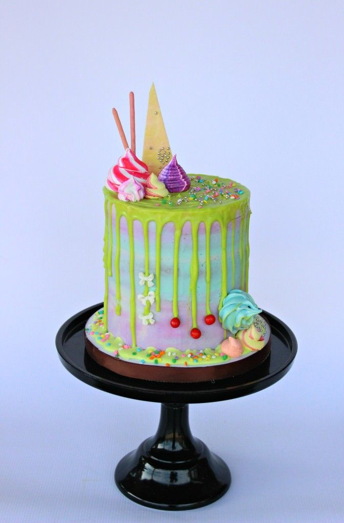 Lori Howell Cakes | Chocolate drippy cakes…and colorful meringue puffs! | http://www.lorihowellcakes.com