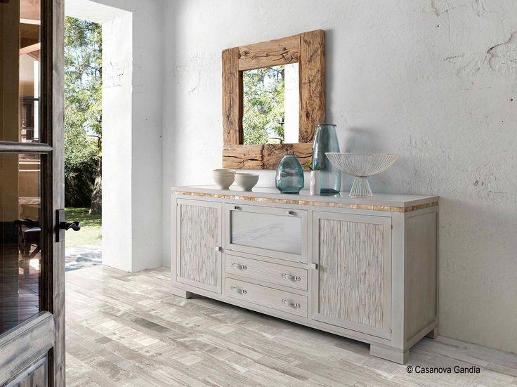 Aparador estilo tnico combinado con espejo de madera for Aparadores con espejo
