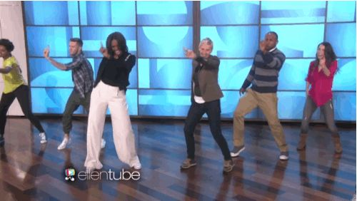 "Pin for Later: 32 of the Cutest Celebrity Moments From 2015 When Michelle Obama Danced It Out on The Ellen DeGeneres Show Michelle and Ellen really tore it up during their dance to ""Uptown Funk."" Don't believe us? Just watch."