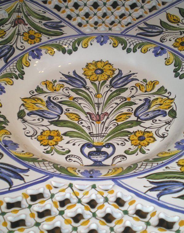 Beautiful hungarian hutterite ceramic. Detail of a handmade bowl.
