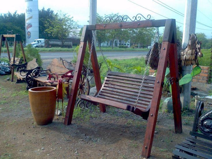 banca columpio de madera mezquite para 2 personas 143