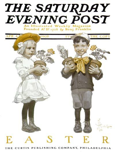 """J. C. Leyendecker - The Saturday Evening Post Magazine cover (April 4, 1908) """"Two Children with Easter Flowers"""""""
