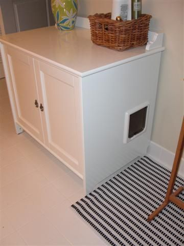 "placing a cat litter box inside an Ikea cabinet, and add a cat door to the side. Placing a mat outside the cat litter box forces the cats to ""wipe their paws"" before heading back out their door."