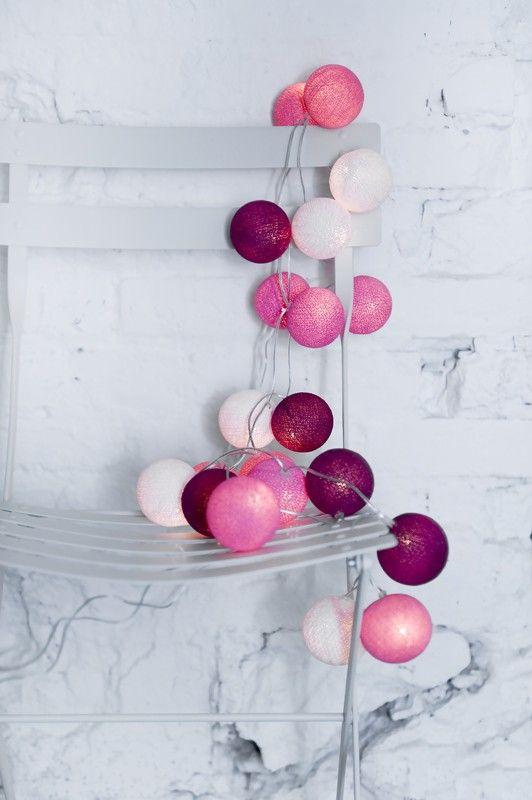 Zestaw SWEET PINK Słodkie, delikatne, romantyczne - do pokoiku maleńkiej dziewczynki lub dla kobiety, której ciepło i bliskość są dla Ciebie najważniejsze! Kolory: shell/soft pink/bright pink/coral pink/cyklaam. http://www.cottonballlights.pl/onze-favorieten.html