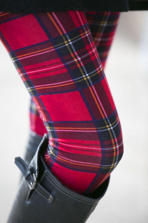 Merry Plaid Print Leggings: