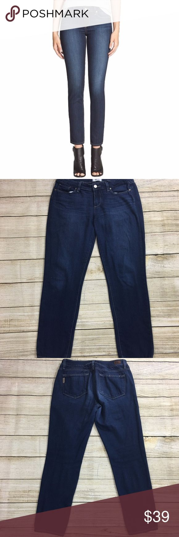PAIGE Skyline Ankle Peg Jeans Inseam: 28 inches Lay Flat Waist: 15 inches Lay Flat Leg Opening:  6 inches Rise: 8.5 inches Material: 50% rayon, 28% cotton, 21% polyester, 1% spandex Description: excellent condition  Bundle & Save: 10% off or more  NO TRADES Shipping within 24 hours PAIGE Jeans Skinny