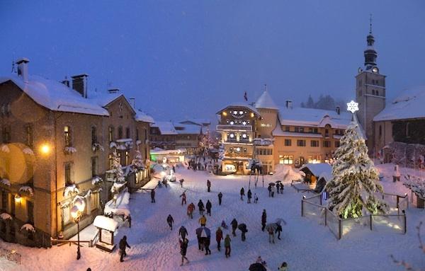 La beauté de Megeve en hiver sous la neige, France