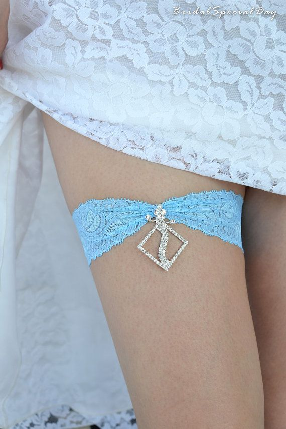 Sky Blue Wedding Garter Set Stretch Lace by BridalSpecialDay