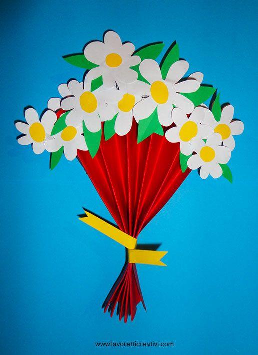 Bouquet con margherite di carta da regalare alla mamma per il giorno della sua festa. LAVORETTI FESTA DELLA MAMMA Bouquet con fiori di carta Materiale: car