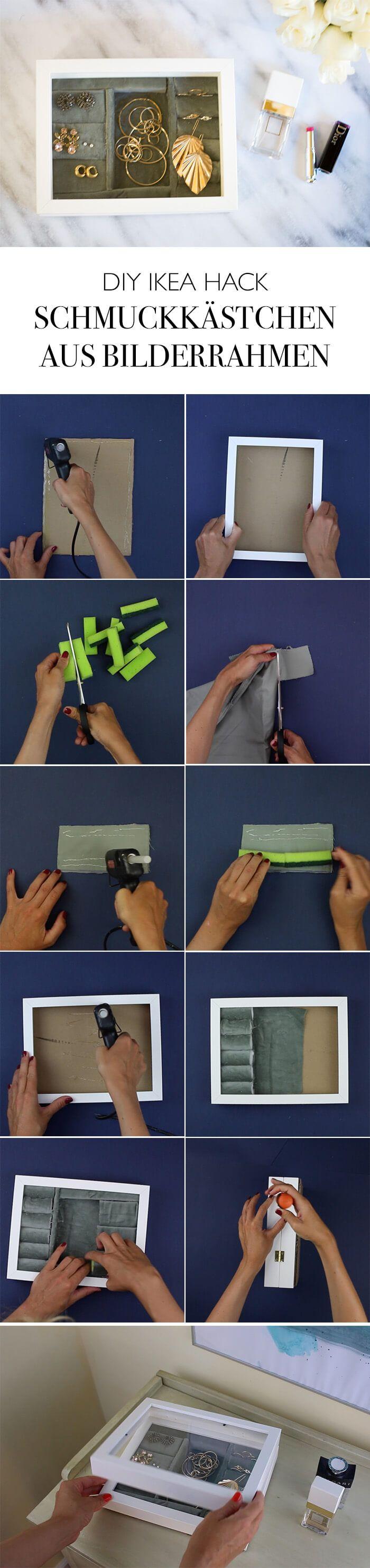 DIY SCHMUCKKÄSTCHEN AUS BILDERRAHMEN – UPCYCLING #IKEAHACK – Linda loves… DIY & basteln & selber machen