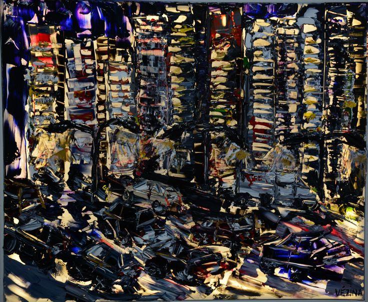 """Dans le trafic Acrylique sur toile tendue illuminée au D.E.L. VERSION ÉCLAIRÉE 36"""" x 30"""""""