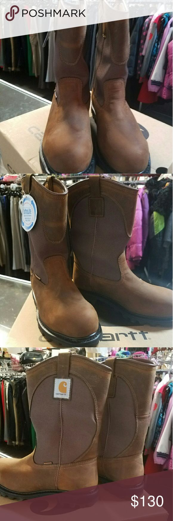Carhartt men Brown safety toe boots sz 10M Genuine full grain waterproof leather, waterproof membrane, goodyear welt construction, carhartt rubber outsile with oil chemical and slip resistant properties, ortholite insole carhartt  Shoes Boots