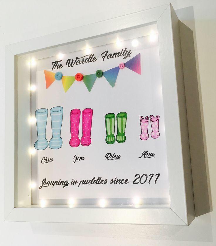 Personalised Welly Boot Frame With Lights by RIVADesignsGifts on Etsy https://www.etsy.com/uk/listing/525576496/personalised-welly-boot-frame-with
