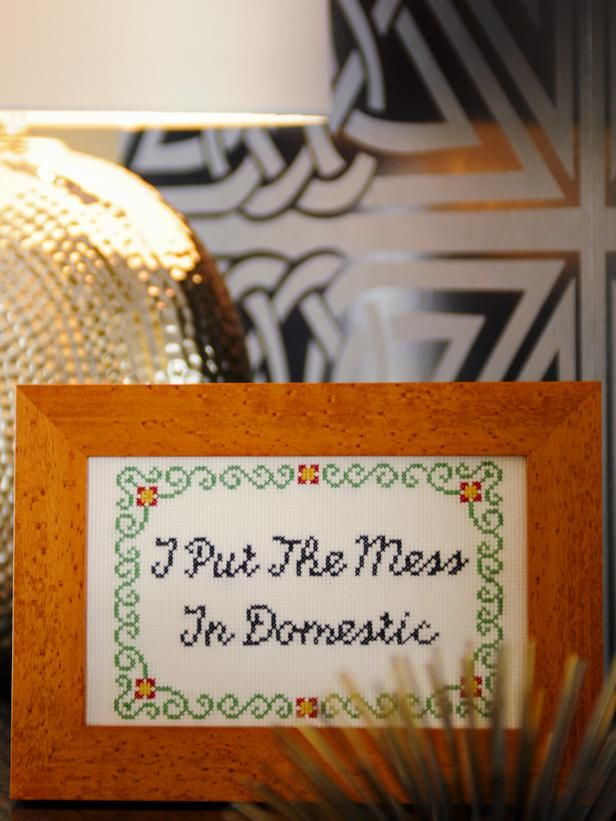 Free Downloadable Subversive Cross-Stitch Patterns and Instructions: Too busy to clean -- and besides, it's not that much fun. Kick your feet up and stitch this message to let the world know you're proud of your domestic diva-ness -- or lack thereof. From DIYnetwork.com