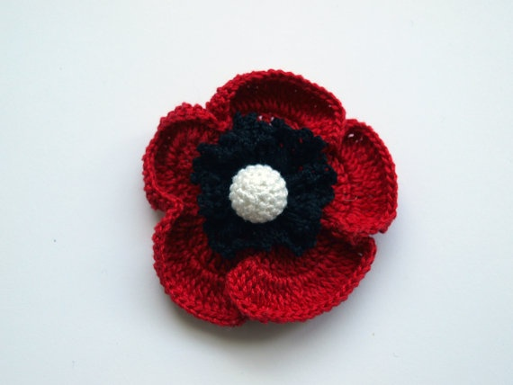 Crochet Red Poppy Brooch by fauxvijoux on Etsy, €15.30