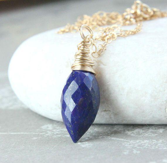 Lapis Lazuli Gold  Necklace  Lapis Jewelry  Gemstone Jewelry