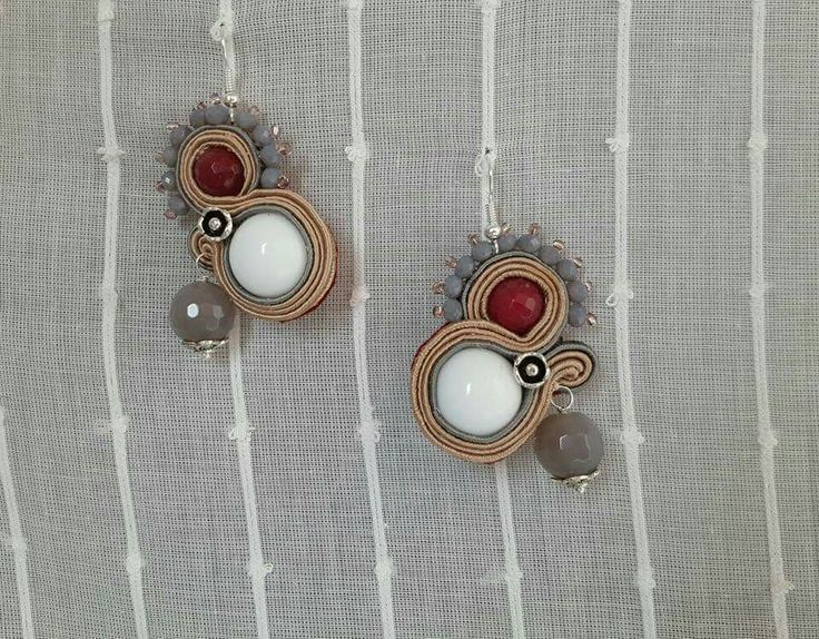 Orecchini soutache con agata, quarzi, rubilite e resina Notedizucchero.blogspot.com