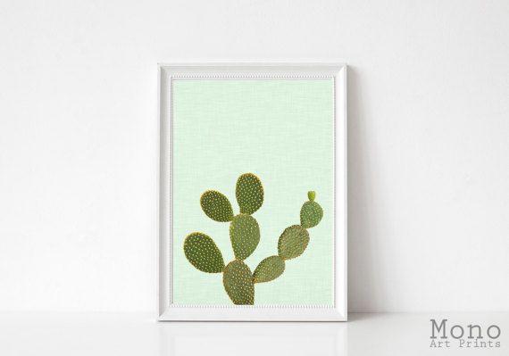 Cactus Print, printable digital download, Instant download printable art, simple cactus wall art, green background, large printable poster