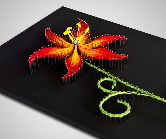 String art The Fire Lily. String art flower. by TheStringArtStudio