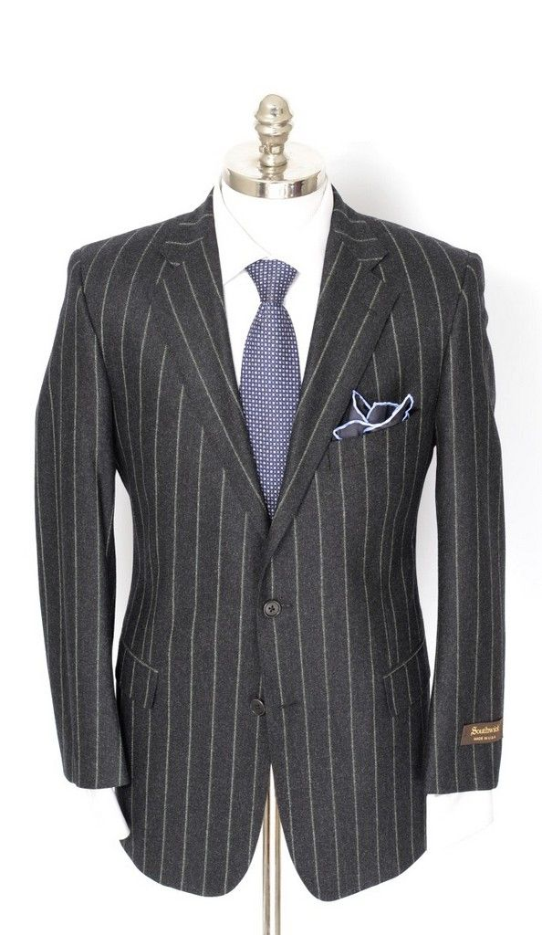 Rock Prohibition style, in this SOUTHWICK Gray Pinstripe Flannel Super 100's 2Btn Flat Front Suit!  |  Find yours! http://www.frieschskys.com/suits  |  #frieschskys #mensfashion #fashion #mensstyle #style #moda #menswear #dapper #stylish #MadeInItaly #Italy #couture #highfashion #designer #shopping