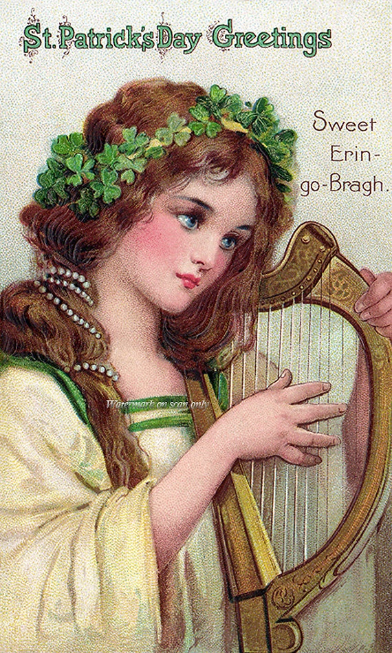 $2.75 St. Patrick's Day card with image by Frances Brundage in my Etsy store.
