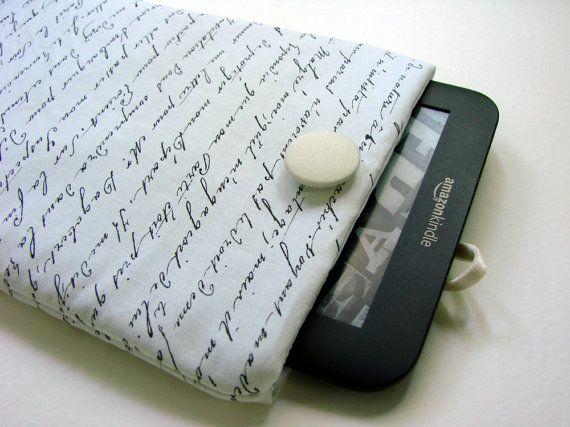 Copertina di Kindle, Kindle caso, Paperwhite Kindle, Kindle manica, imbottita manicotto, 7 nel caso di compressa, script di francese, lettera d'epoca Nexus 7 coperchio on Etsy, $13.64