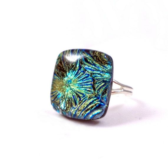 Romantic fused glass ring. Blue green ring. by VerreArts on Etsy