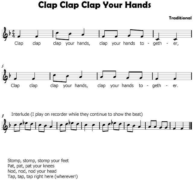 Steady beat Games ( B section or INTERLUDE.... hand clap pattern with partners > legs clap R clap legs clap L clap legs clap R clap L clap BOTH. ) 1st part of song starts over. Kids love this song.