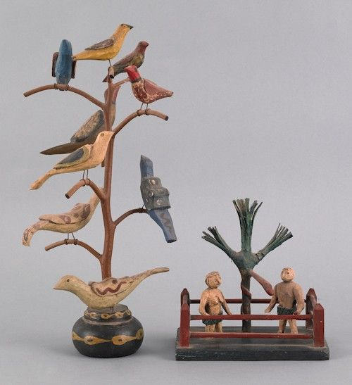 Daniel Strawser hand carved and painted bird tree and Adam an Eve.  Collection of Lester Breininer