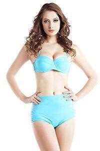 vlunt Sexy Femme de maillots de bain bikini de bain pour les vacances YE81-Blue L