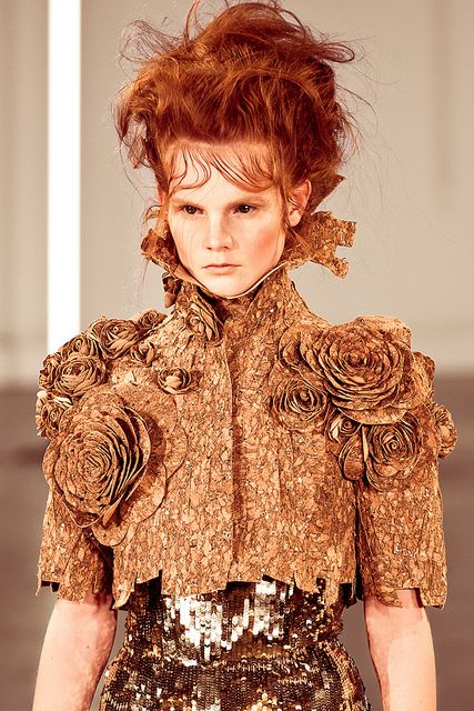 Copper Tones & Mixed Textures - textured fabric, sparkly sequins and fabric flowers; fashion details